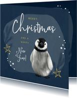 Kerstkaart pinguïn illustratie winter goud sterren