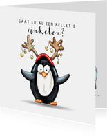 Kerstkaart pinguïn met belletjes
