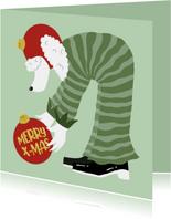 Kerstkaart Poedel met kerstballen Merry X-Mas