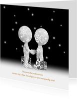 Kerstkaart relaties zwart-wit