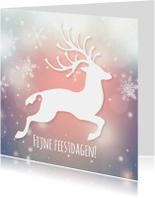 Kerstkaarten - Kerstkaart Rendier op pastelkleurige achtergrond