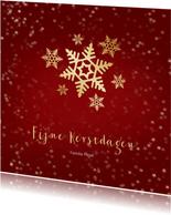 Kerstkaart rood met gouden sneeuwvlok - een gouden kerst