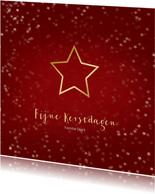 Kerstkaart rood met ster van goud - Een gouden kerst