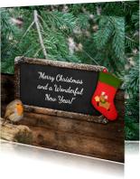Kerstkaart roodborstje en bord