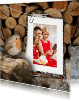 Kerstkaart roodborstje en foto