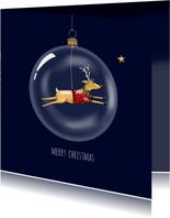 Kerstkaart - Rudolph in glazen kerstbal