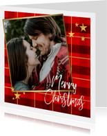 Kerstkaart ruitpatroon foto Merry Christmas & gouden sterren