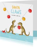 Kerstkaart santa claws dino kerstballen