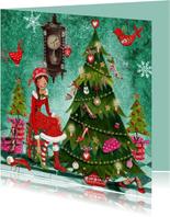 Kerstkaart Santa Schoenen Boom