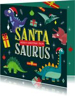 Kerstkaart Santasaurus dino vrolijk cadeautjes crazy
