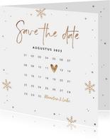 Kerstkaart save the date goud confetti sneeuwvlokken foto