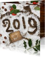 Kerstkaart sneeuw op hout 2019
