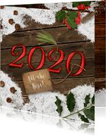 Kerstkaart sneeuw op hout 2020