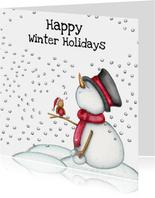Kerstkaart sneeuwpop met vogeltje
