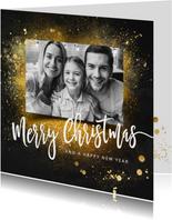 Kerstkaart goud vierkant foto