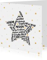 Kerstkaart ster met woorden goudlook