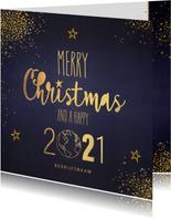 Kerstkaart stijlvol blauw gouden sterren en wereldbol 2021