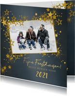 Kerstkaart stijlvol blauw met foto en goud sterren 2021