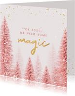 Kerstkaart stijlvol kerstbomen roze goud magisch