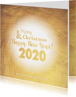 Kerstkaart stijlvolle goudkleurige kaart 2020