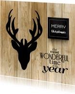 Kerstkaart stoer met hert op hout