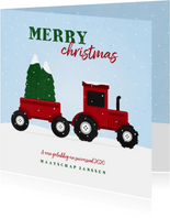 Kerstkaart tractor met kerstbomen en sneeuw agrarisch