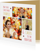 Kerstkaart trendy collage Sparkle Cheers