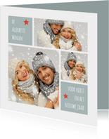 Kerstkaart trendy foto collage aanpasbare achtergrondkleur