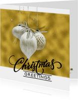 Kerstkaart trendy gold christmasballs