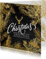 Kerstkaart trendy gouden dennentakken met hert