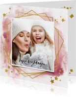 Kerstkaart trendy roze verf strepen, goud kader en sterren