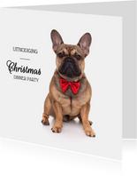 Kerstkaart uitnodiging - Franse Bull Dog met rode strik