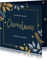 Kerstkaart uitnodiging kerstdiner stijlvol winter