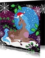 Kerstkaart unicorn en sterren