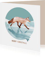 Kerstkaart van een vos op het ijs