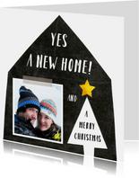 Kerstkaart verhuiskaart zwart wit