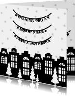 Kerstkaart verhuiskaart zwartwit slingers