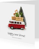 Kerstkaart verhuizen met Volkswagen busje en spullen op dak