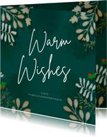Kerstkaart vierkant botanische kerst Warm Wishes