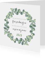 Kerstkaart vierkant eucalyptus tekst