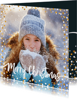 Kerstkaart vierkant gouden sterren met confetti en foto