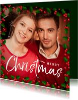 Kerstkaart vierkant grote foto met hulst kader