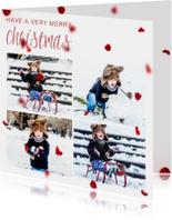 Kerstkaart vierkant met foto's en rode blaadjes