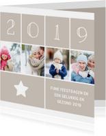 Kerstkaart vierkant met foto's, ster en jaartal 2019