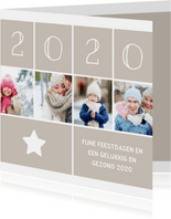 Kerstkaart vierkant met foto's, ster en jaartal 2020