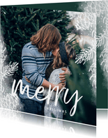 Kerstkaart vierkant wit dennentakje met foto achtergrond