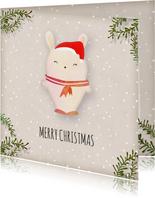 Kerstkaart vierkant wit konijntje