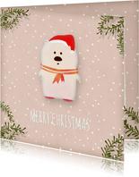Kerstkaart vierkant witte ijsbeer