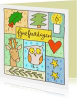 Kerstkaarten - Kerstkaart vlakjes en uil