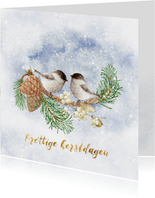 Kerstkaart vogels in de winter